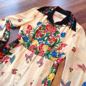 Vintage 1970s Border Butterfly Dress